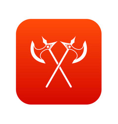 crossed battle axes icon digital red vector image