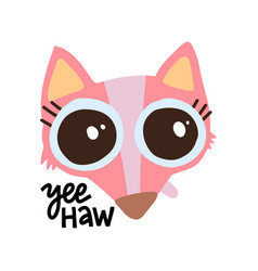 cute pink fix with big eyes on white backdrop vector image