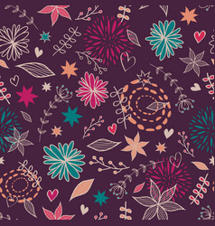 cute seamless floral pattern with flowers leaves vector image
