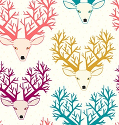Cute seamless pattern with deers vector image
