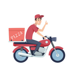 Delivery boy on motorcycle man ride on scooter vector