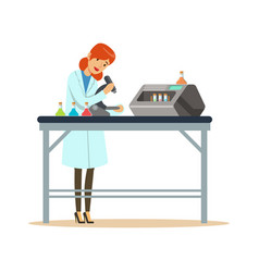 Doctor woman working with microscope and testing vector