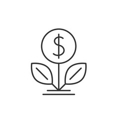 Dollar tree outline icon vector