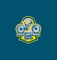 Emblem mountain bike sport bike logo vector