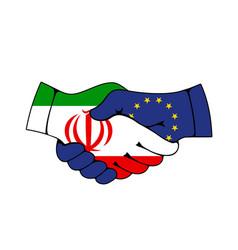 European union and iran partnership handshake vector