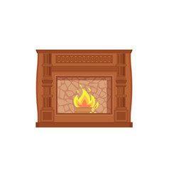 Fireplace with fire heating decoration home vector