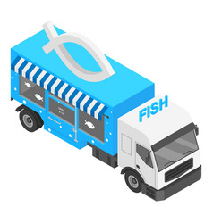 fish shop truck icon isometric style vector image