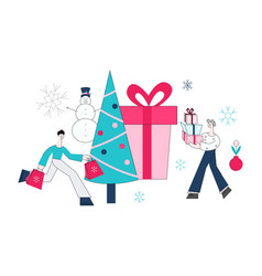 flat man and woman with shopping bags vector image