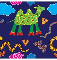 floral camel pattern vector image