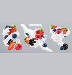 Forest berry and milk splash fruit and yogurt 3d vector