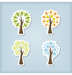 Four season tree icons vector image