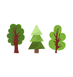 green cartoon trees in flat style isolated vector image