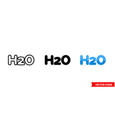 H2o water icon 3 types isolated sign vector