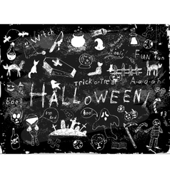 Halloween set of simple doodles vector image