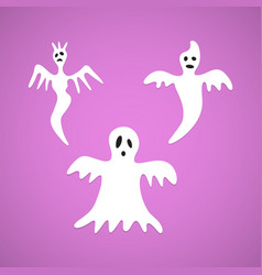 halloween white ghost evil set background vector image
