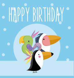 Happy birthday cute animal card vector