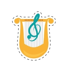 Harp lyre music classic dotted line vector