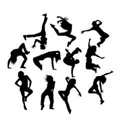 Hip Hop Dancers Silhouettes vector