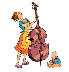 home rehearsal mother with a small child plays vector image