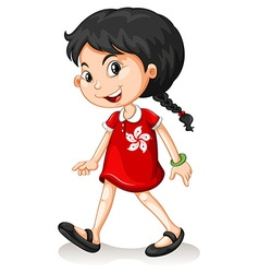 HongKong girl walking alone vector