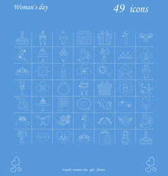 I love you womens doodle 49 icon in set of womens vector