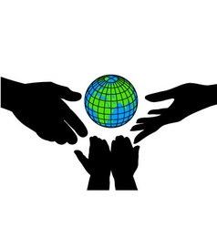 icon silhouettes of hands and the planet vector image