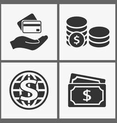 investments money icons black vector image