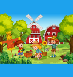 kids planting at rural outdoor area vector image