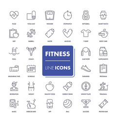 Line icons set fitness vector