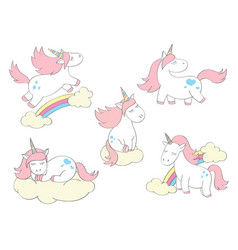 magic cute unicorns set in cartoon style vector image