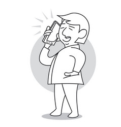 man talking on a mobile phone vector image