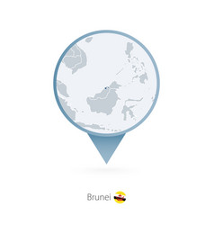 Map pin with detailed brunei vector