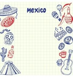 Mexico Symbols Pen Drawn Doodles Collection vector image