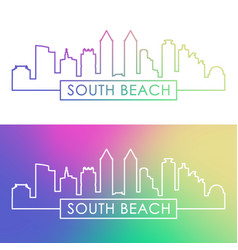 miami south beach skyline colorful linear style vector image