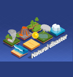 Natural disaster isometric composition vector