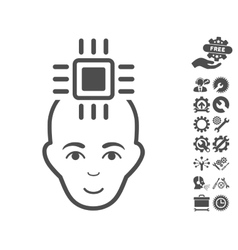 Neural Computer Interface Icon With Tools vector