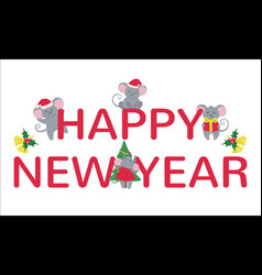 New year banner with cute mice isolated on white vector