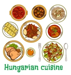 Nutritious dishes hungarian cuisine sketch icon vector