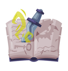 opened magic book with dagger witchcraft vector image
