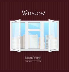 opened white window with transparent glasses vector image