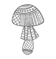 Ornamental mushroom black and white vector