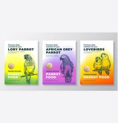 Pet bird food product label templates set vector