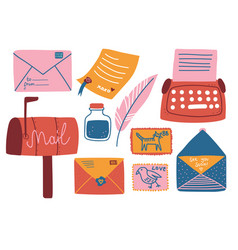 post supplies set mailbox letters postcard pen vector image
