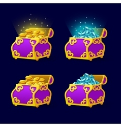 Purple Chest set for game interface vector