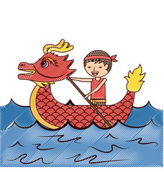 red dragon man rowing festival chinese traditional vector image