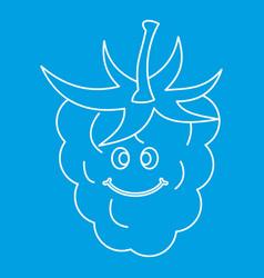 ripe fresh smiling raspberry icon outline vector image