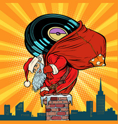 santa claus with vinyl records climbs into the vector image