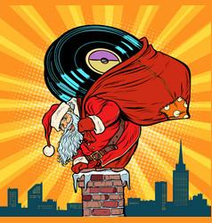Santa claus with vinyl records climbs into the vector
