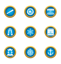 Seafarer icons set flat style vector