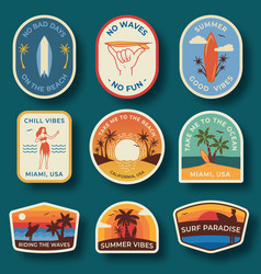 set nine beach badges hand drawn palm trees vector image
